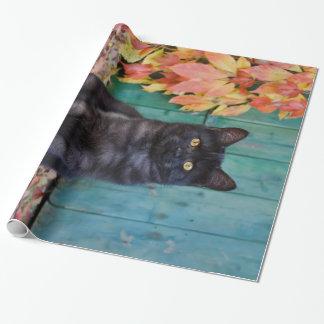 Papier Cadeau Le chaton mignon de chat noir avec le rouge part