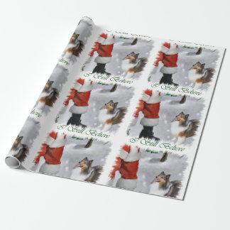 Papier Cadeau Le chien de berger de Shetland croient Noël