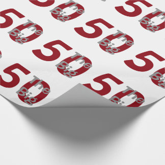 """Papier Cadeau Le grand """"50"""", anniversaire, rouge, texte blanc"""