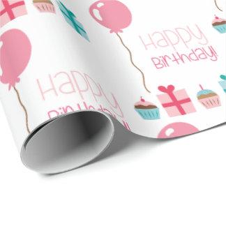 Papier Cadeau Le joyeux anniversaire mignon monte en ballon le
