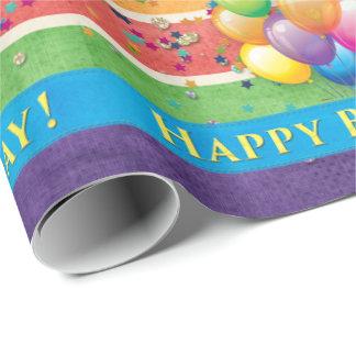 Papier Cadeau Le joyeux anniversaire monte en ballon la couleur