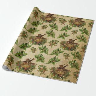 Papier Cadeau Le nid de Noël de l'oiseau antique de vert
