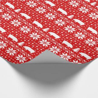 Papier Cadeau Le porc silhouette le motif de chandail de Noël