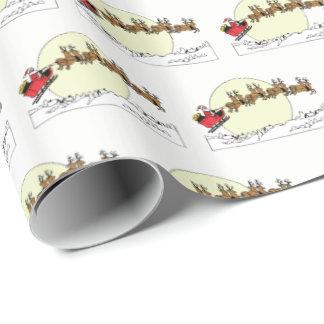 Papier Cadeau Le renne de Père Noël au-dessus de la neige a