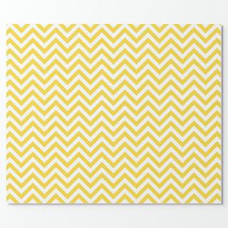Papier Cadeau Le zigzag jaune et blanc barre le motif de Chevron