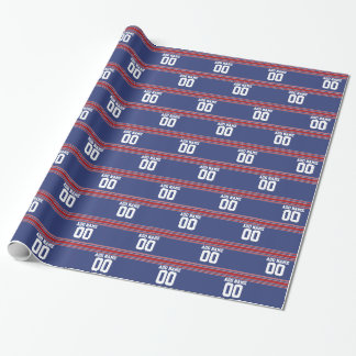 Papier Cadeau L'équipe Jersey barre le nom et le nombre faits