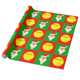 Papier Cadeau Les base-ball et Noël du base-ball de Père Noël