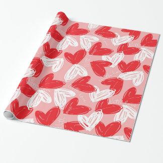 """Papier Cadeau Les coeurs de l'amour de Valentine """"avec"""""""