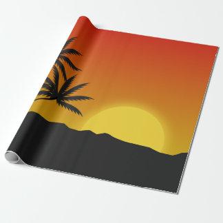 Papier Cadeau Les palmiers silhouettent et coucher du soleil