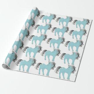 Papier Cadeau Licorne bleue