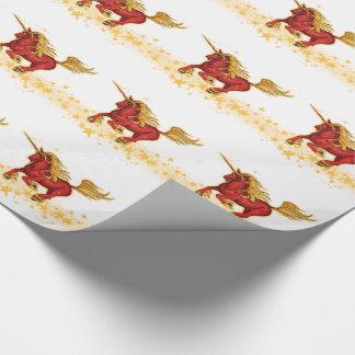 Papier Cadeau Licorne de Noël (or-rouge)