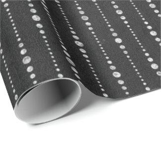 Papier Cadeau Lignes   blanches noires rayures de baisses de