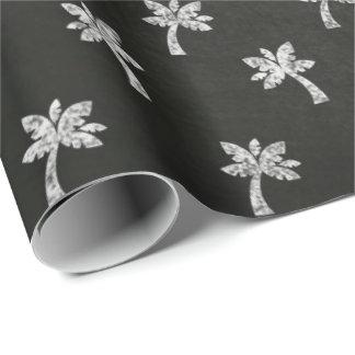Papier Cadeau Lignes blanches noires tableau de palmier élégant
