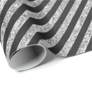 Papier Cadeau Lignes blanches noires tableau de rayures élégant
