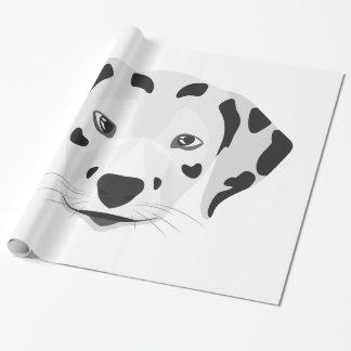 Papier Cadeau L'illustration poursuit le Dalmate de visage