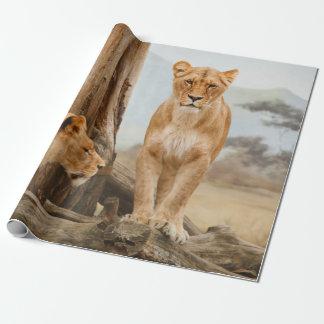 Papier Cadeau Lions se reposant dans un paysage de montagne