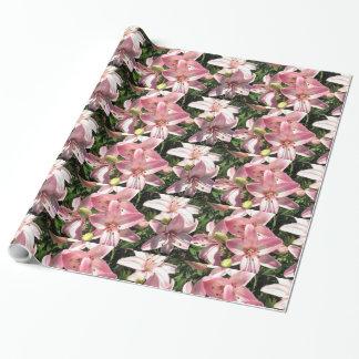 Papier Cadeau Lis asiatiques blancs roses