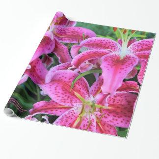 Papier Cadeau Lis orientaux d'astronome, pleines fleurs