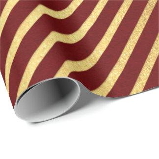 Papier Cadeau L'or marron rouge de Bourgogne barre des lignes
