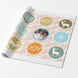 Papier Cadeau Lumineux de Noël de renne de photo de famille de