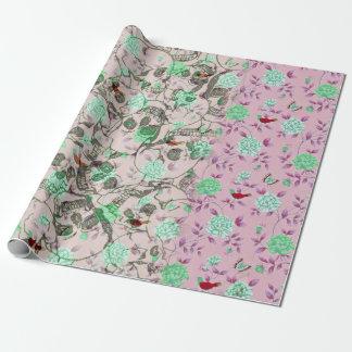 Papier Cadeau Madame fraîche Grunge Skulls et floral turquoise