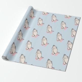 Papier Cadeau Mains de prière bleues et enveloppe de cadeau rose