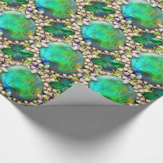Papier Cadeau Mandala orné de bijoux vert de fausses pierres