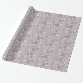 Papier Cadeau Mariage floral pourpre et gris vintage