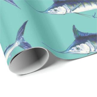Papier Cadeau Marlins sur le bleu tiffany