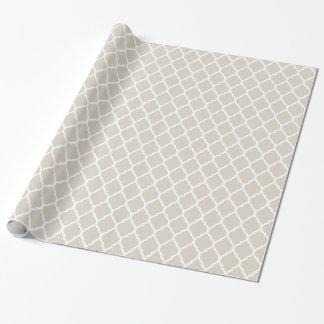 Papier Cadeau Marocain beige et blanc de toile Quatrefoil