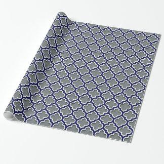 Papier Cadeau Marocain blanc Quatrefoil #5DS de marine de gris