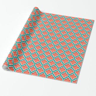 Papier Cadeau Marocain blanc turquoise de corail Quatrefoil #5DS