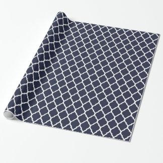 Papier Cadeau Marocain de bleu marine et blanc Quatrefoil