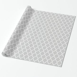 Papier Cadeau Marocain gris et blanc Quatrefoil