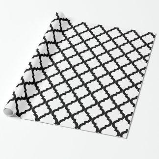 Papier Cadeau Marocain noir et blanc Quatrefoil de vacances