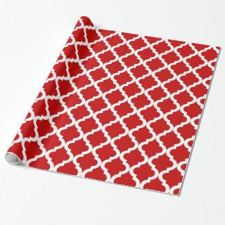 Papier Cadeau Marocain rouge Quatrefoil de vacances