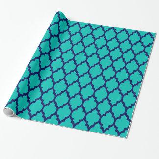 Papier Cadeau Marocain turquoise Quatrefoil #4 de la marine XL