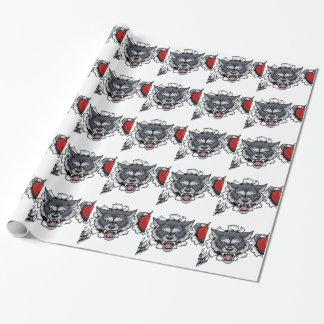 Papier Cadeau Mascotte de cricket de loup cassant l'arrière -