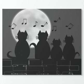 Papier Cadeau Miauler par clair de lune