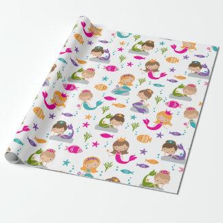 Papier Cadeau Mignon sous le papier d'emballage de sirène de mer