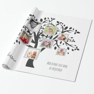 Papier Cadeau Modèle d'arbre généalogique de collage de photo