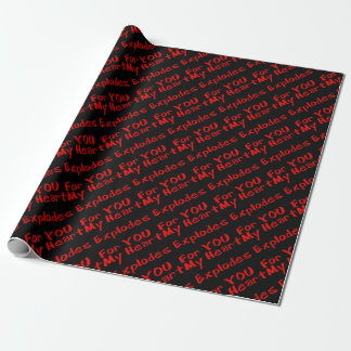 Papier Cadeau Mon coeur éclate 4 U - enveloppe de cadeau