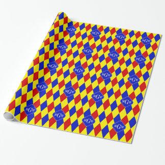 Papier Cadeau Monogramme bleu jaune rouge de Quatrefoil 3 de