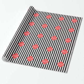 Papier Cadeau Monogramme de corail de Quatrefoil 3 de rayure