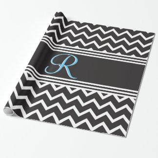Papier Cadeau Monogramme gothique blanc de zigzag du noir  