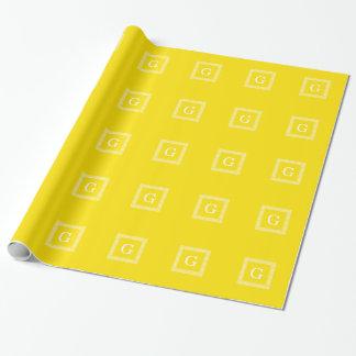 Papier Cadeau Monogramme initial principal grec blanc jaune du
