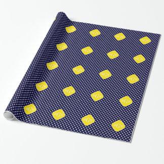 Papier Cadeau Monogramme jaune de Quatrefoil 3 de pois blanc de
