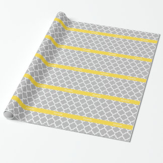 Papier Cadeau Monogramme marocain de nom de l'ananas #5 de blanc