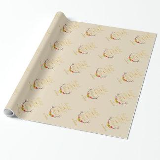 Papier Cadeau Monogramme reconnaissant de thanksgiving d'or