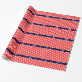 Papier Cadeau Monogramme rouge et blanc de corail de nom de bleu